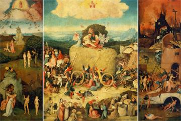 Canvas doek Triptychon der Heuwagen
