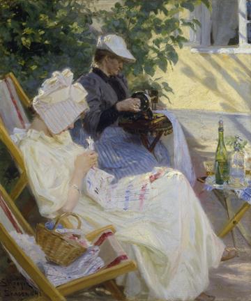 Canvas doek Zwei Frauen im Garten