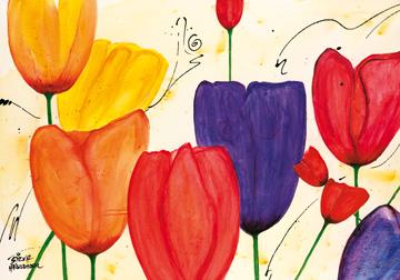 Canvas doek Tulpenspiel