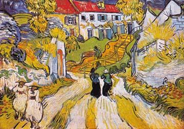 Canvas doek Weg und Treppe in Auvers