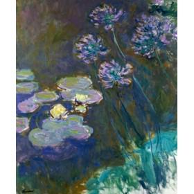 Canvas schilderij Gelbe Seerosen und Agapanthes