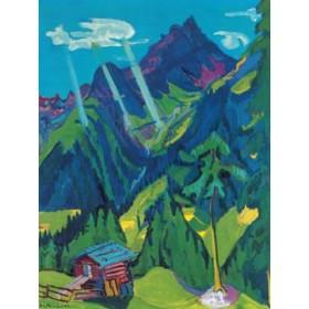 Canvas schilderij Bündner Landschaft mit Sonnenstr