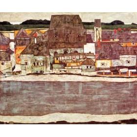 Canvas schilderij Häuser am Fluss II