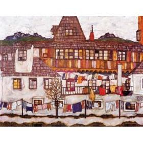 Canvas schilderij Häuser mit trockener Wäsche
