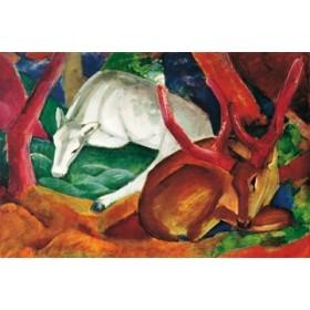 Canvas schilderij Hirsche im Wald