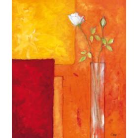 Canvas schilderij Rosen auf warmem Rot