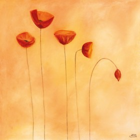 Canvas schilderij Poppy Family
