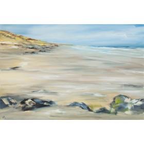 Canvas schilderij Felsen am Strand