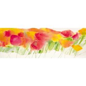 Canvas schilderij Poppy ribbon yellow