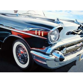 Canvas schilderij T-Bird on Chevy Reflections