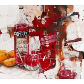Canvas schilderij Das Rot, das aus der Flasche kom