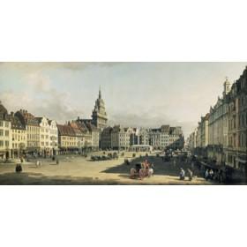 Canvas schilderij Der Alte Markt in Dresden