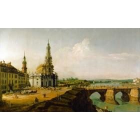 Canvas schilderij Dresden, Blick vom Elbe-Ufer