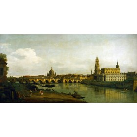 Canvas schilderij Dresden, Blick vom Elbe-Ufer...