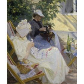 Canvas schilderij Zwei Frauen im Garten