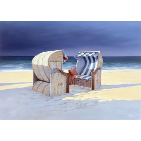 Canvas schilderij Beach Chairs I