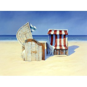 Canvas schilderij Beach Chairs II