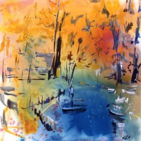 Canvas schilderij Landschaft mit Boot