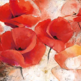Canvas schilderij Mohnwiese
