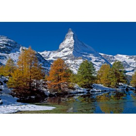 Canvas schilderij Matterhorn with Larches II