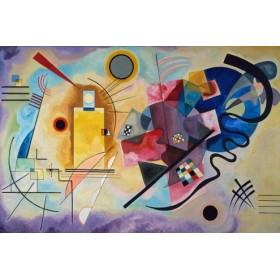 Canvas schilderij Gelb, rot und blau