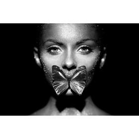 Aluminium schilderij Butterfly Lips fotokunst
