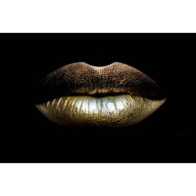 Aluminium schilderij Golden Lips fotokunst
