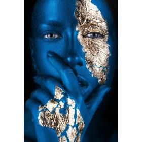 Aluminium schilderij Arabian Blue Face Gold