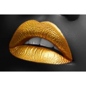 Aluminium schilderij Golden Lipstick fotokunst