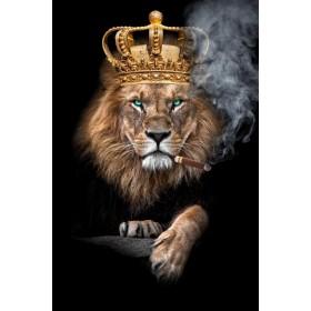 Aluminium schilderij Lion with Crown Blue Eyes