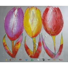 Schilderij 3 Tulpen
