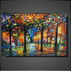 Olieverf schilderij Colorful Forest 120 x 80 cm