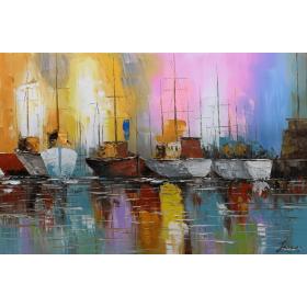 Olieverf schilderij Harbor 120 x 80 cm