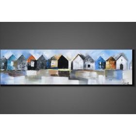 Olieverf schilderij Houses 140 x 40 cm