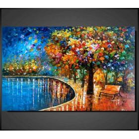 Olieverf schilderij Lonely Bench 120 x 80 cm