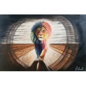Olieverf schilderij Lion Road 120 x 80 cm