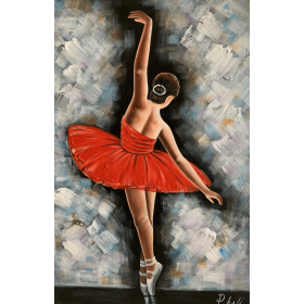 Olieverf schilderij Ballet Red 80 x 120 cm
