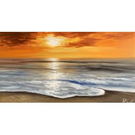 Olieverf schilderij Sundown 130 x 70 cm