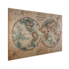 Wereldkaart op aluminium - Doorsnede papaier