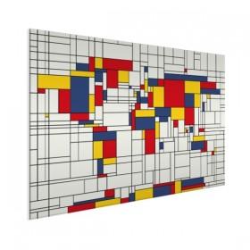 Wereldkaart op aluminium - Mondriaan