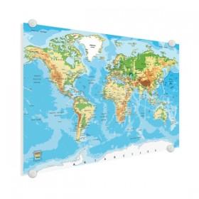 Wereldkaart op plexiglas - Klassiek