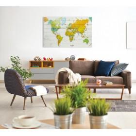 Wereldkaart op hout - Modern