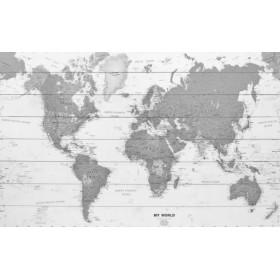 Moderne wereldkaart zwart-wit