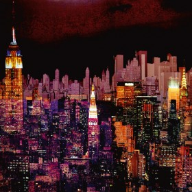 Aluminium schilderij New York by Night I