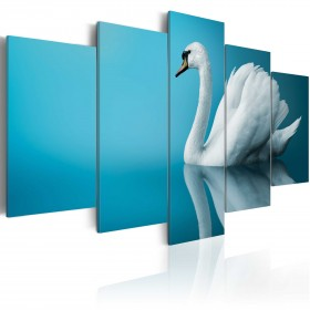 Foto schilderij - A swan in blue