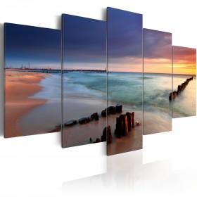 Foto schilderij - Dawn by the sea