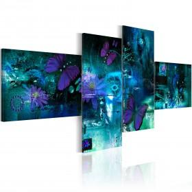 Foto schilderij - Vlinders in turquoise
