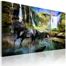 Foto schilderij - Horse on the sky-blue waterfall background