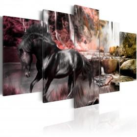 Foto schilderij - Black horse on crimson sky background