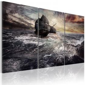 Foto schilderij - Lonely ship on a high seas